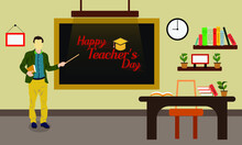 Flat Illustration For Happy Teacher's Day Background Poster Concept Graphic Design.