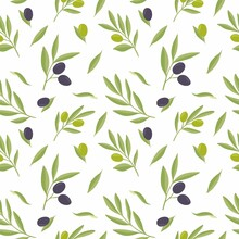 Seamless Vector Pattern With Green And Purple Olives On A White Background.