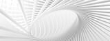 Fototapeta Do przedpokoju - Unusual architectural abstraction. Stylish white background. Minimalistic design. 3D illustration, 3D rendering.