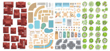 Set Of Landscape Elements. Houses, Architectural Elements, Furniture, Trees. Top View. Road, Cars, People, Lights, Furniture, Houses, Tiled Roofs, Paving Stones. View From Above.