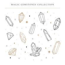 Big Set Of Hand Drawing Crystal Gems, Line Art