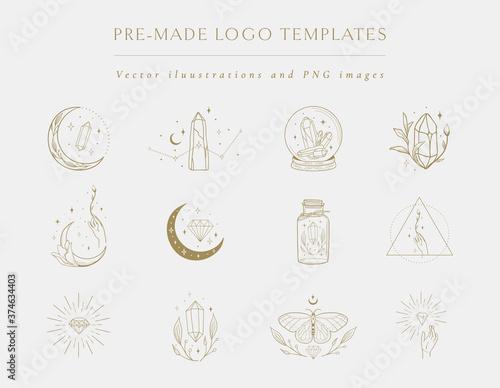 Obraz na plátne Gemstones collection of hand drawn logo designs