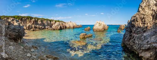 Cala en Menorca con cielo y mar azul Canvas Print