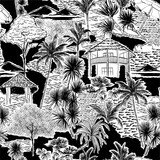 Stylish Hand drawn sketch summer Island bech ocean ,palm tree and plants Vacations seamless pattern vector EPS10,Design for fashion , fabric, textile, wallpaper, cover, web , wrapping - 374645078