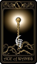 Ace Of Wands. Card Of Minor Arcana Black And Gold Tarot Cards. Tarot Deck. Vector Hand Drawn Illustration With Skulls, Occult, Mystical And Esoteric Symbols.