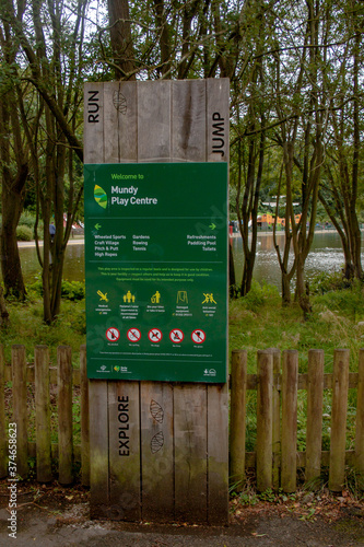 Photo Derby August 29, 2020: The Sign at the Mundy Play Centre, Markeaton Park, Derby,
