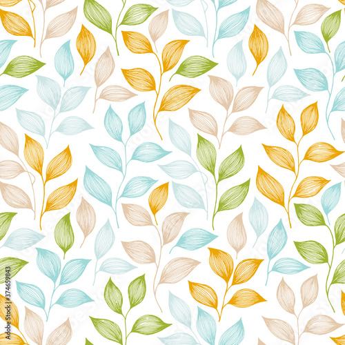Fototapeta Tea leaves seamless pattern design. Herbal sketchy background