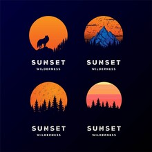 Set Collection Sunset Mountain Wolf Pine Forest Adventure Camp Logo Design Vector