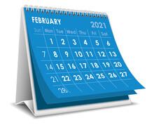 Desktop Calendar February 2021 Illustration