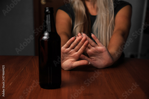 Young woman alcoholic social problems concept sitting refusal of alcohol Fototapet