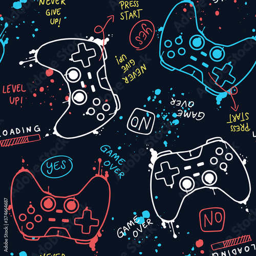 vector-seamless-pattern-with-joysticks-gamepad-illustration-and-slogan-text-for-t-shirt-prints-and-other-uses
