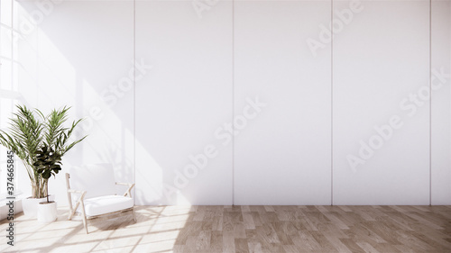 Armchair on room decoration is open with design disc flap on the wood grain floor.3D rendering
