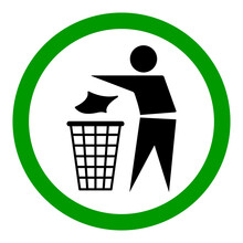 Do Not Litter Flat Icon In Green Circle Isolated On White Background. Keep It Clean Vector Illustration. Tidy Symbol