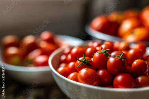 Freshly picked garden cherry tomatoes in a bowl Canvas Print