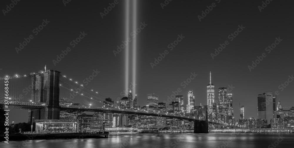 Fototapeta New York City 9/11 Tribute Light B&W