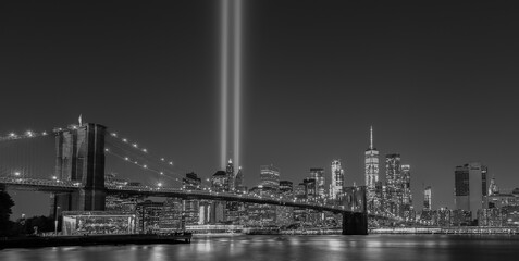 New York City 9/11 Tribute Light B&W