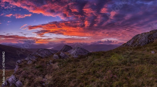 SUNRISE OVER THE PANORAMIC LANDSCAPE OF SCOTLAND SUNRISE PANORAMIC LANDSCAPE NATURE