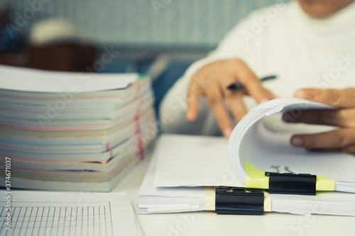 Auditor businesswoman checking unfinished document legal prepare paperwork or re Fototapet