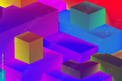 Abstract geometric cubic colorful  in neon lights background. isometric 3d render.