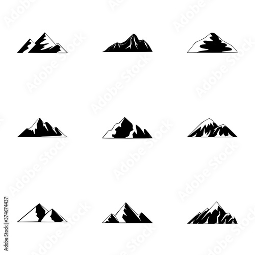 altitude icons set simple style vector Altitude, Icons, Set, Black, Volcano, Simple, Style, Isolated, Alpinism, Highland, Slope, Tourism