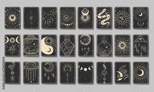 Canvas Set of decorative tarot cards
