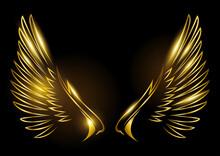 Golden Wings On Black Background