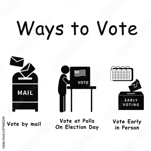 Fényképezés Three Ways to Vote, Pictogram depicting 3 ways voters can vote for election voting