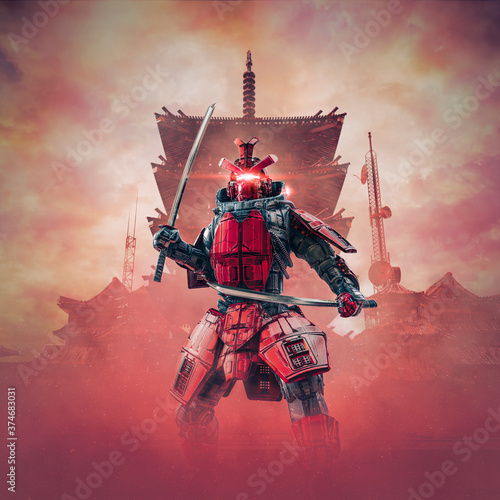 Leinwand Poster Cyborg samurai warrior / 3D illustration of science fiction cyberpunk armoured r