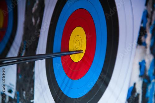 Photo Arrows in archery target on archery range