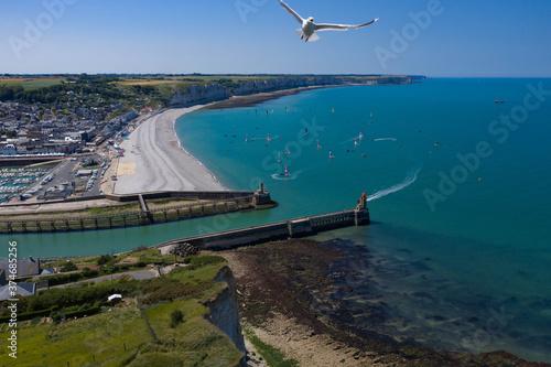 Vue aérienne (drone) du port de Fécamp et de la côte normande avec une mouette, Canvas Print