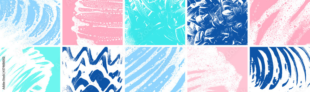 Fototapeta Soap grunge backgrounds collection. Foam textures set. Foam water. Soap bubble stains bundle. Shampoo. Shaving cream. Cleaning. Washing.
