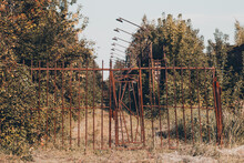Old Abandoned Fence. Rusty Con...