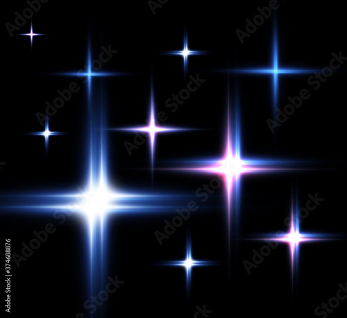 Photo Glow light effect. Star burst with sparkles. Vector illustration