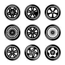 Wheels Icon Set Cars Vector Ca...