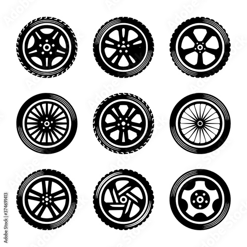 Canvastavla wheels icon set cars vector Car, Icon, White, Transportation, Circle, Transport,