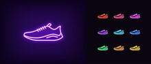 Neon Sneaker Icon. Glowing Neon Sneaker Sign, Sport Shoe