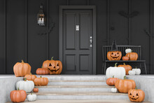 Carved Pumpkins On Stairs Of Black House