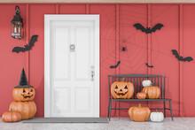 Carved Pumpkins Near White House Door
