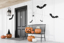 Carved Pumpkins Near Black Hou...