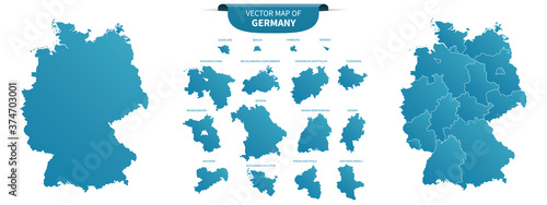 Fotografija blue colored political maps of Germany isolated on white background