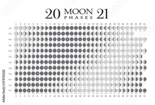 2021 moon phases calendar on white background Wallpaper Mural
