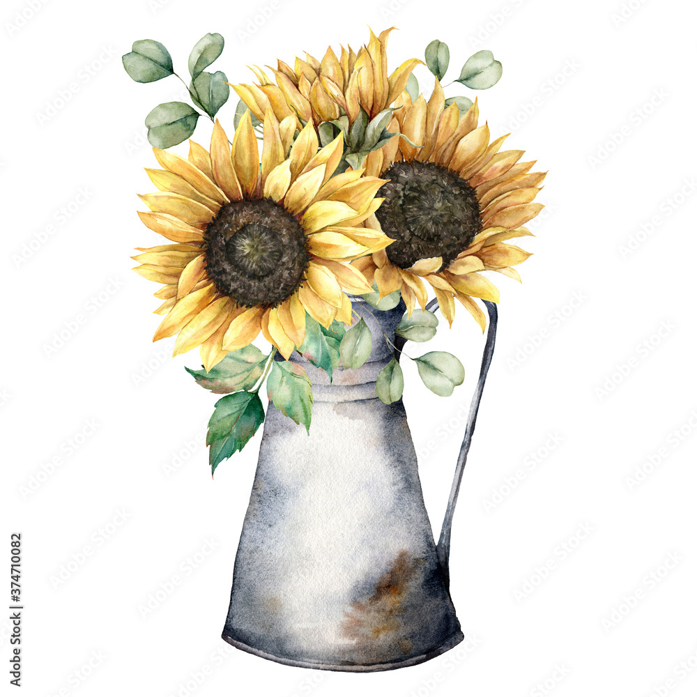 Fototapeta Watercolor autumn bouquet with sunflowers, eucalyptus branches and jug. Hand painted rustic card isolated on white background. Floral illustration for design, print, fabric or background.