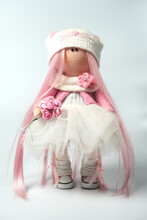 Doll With Pink Hair With A Whi...