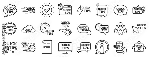 Fotomural Set of Helpful tricks, Solution and Quickstart guide linear icons