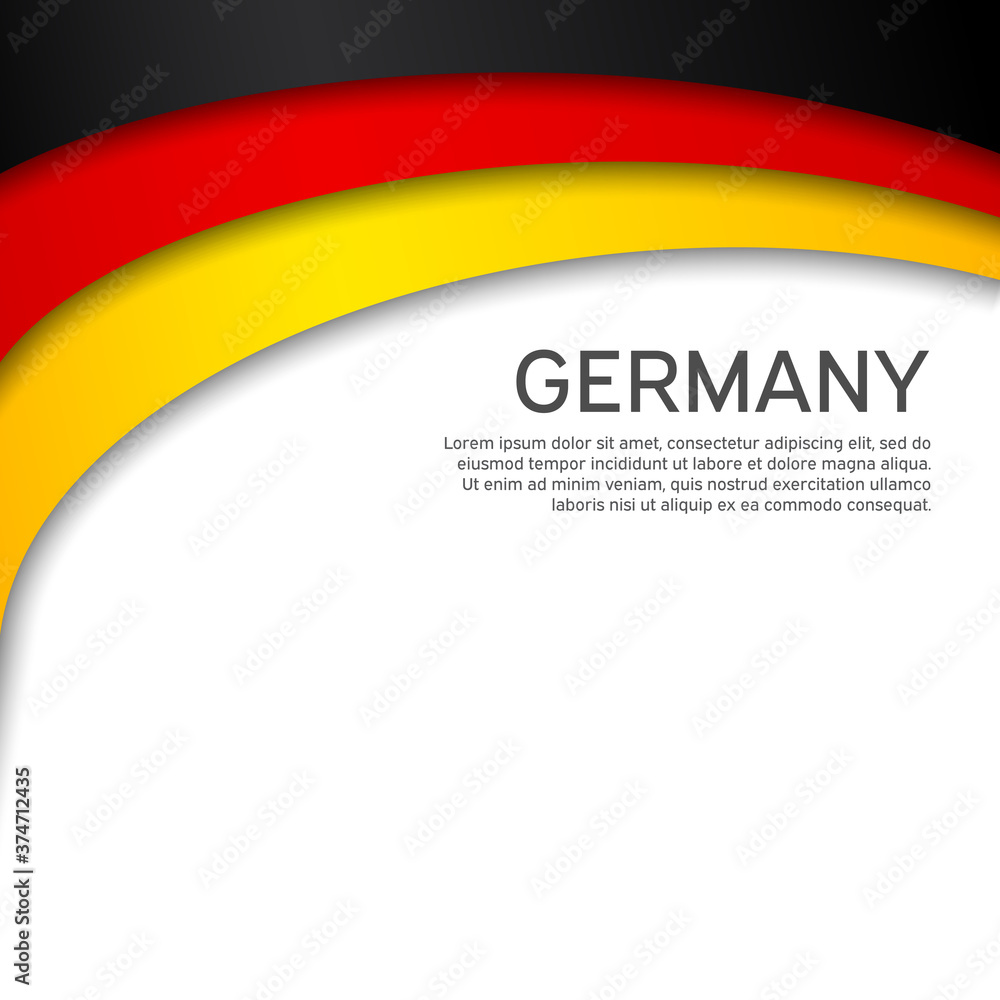 Fototapeta Abstract waving germany flag. Paper cut style. Creative background for design of patriotic holiday card. National poster. State German patriotic cover, flyer. Vector tricolor design