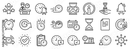 Set of Calendar, Time management timer and Delivery service linear icons. Time line icons. Checklist, Stopwatch timer and hourglass. 24 hours and Presentation, calendar, checklist test. Vector