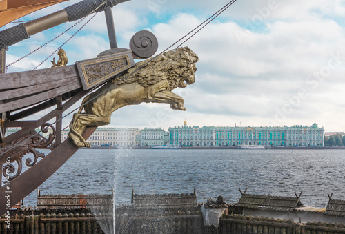 St. Petersburg Hermitage Russia Boat Figurehead Sailing Boat Canvas