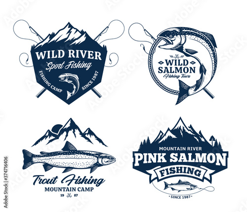 Fotografija Vector fishing badges or labels with detailed fish, rods, and mountains
