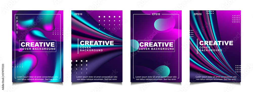 Fototapeta Set of trendy gradient cover design abstract background template with dynamic soft colorful and wavy fluid shapes. Vector a4 layout can use modern poster, flyer, annual report, book, presentation