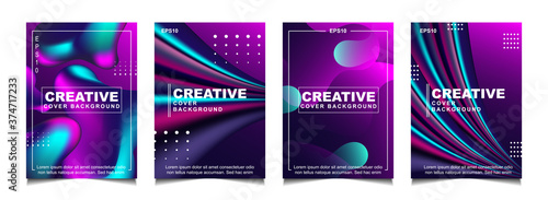 Photo Set of trendy gradient cover design abstract background template with dynamic soft colorful and wavy fluid shapes